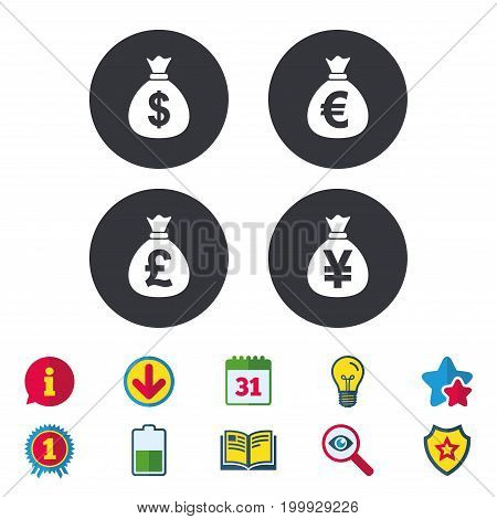 Money bag icons. Dollar, Euro, Pound and Yen symbols. USD, EUR, GBP and JPY currency signs. Calendar, Information and Download signs. Stars, Award and Book icons. Light bulb, Shield and Search. Vector