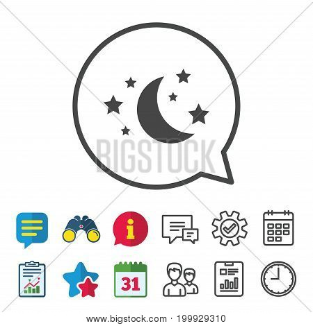 Moon and stars icon. Sleep dreams symbol. Night or bed time sign. Information, Report and Calendar signs. Group, Service and Chat line icons. Vector