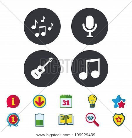 Music icons. Microphone karaoke symbol. Music notes and acoustic guitar signs. Calendar, Information and Download signs. Stars, Award and Book icons. Light bulb, Shield and Search. Vector