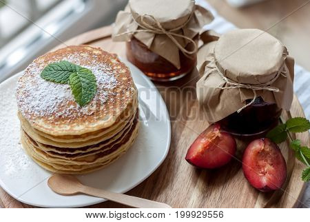 pancakes with plum jam delicious american breakfast