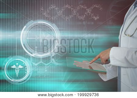 Female doctor using digital tablet against blue and black abstract background