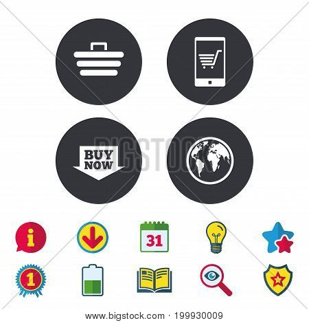 Online shopping icons. Smartphone, shopping cart, buy now arrow and internet signs. WWW globe symbol. Calendar, Information and Download signs. Stars, Award and Book icons. Vector