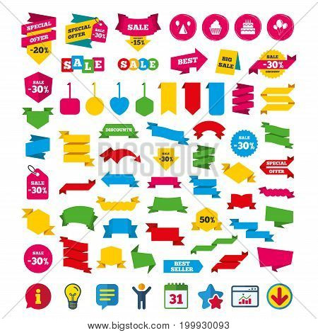 Birthday party icons. Cake, balloon, hat and muffin signs. Celebration symbol. Cupcake sweet food. Shopping tags, banners and coupons signs. Calendar, Information and Download icons. Vector