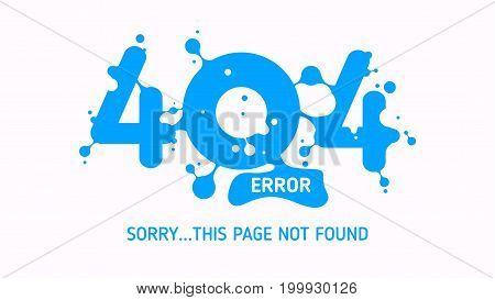 404 liquid error or page not found design graphic template website with white background