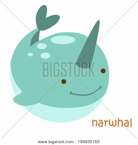 Narwhal isolated. Drawing narwhal for a child