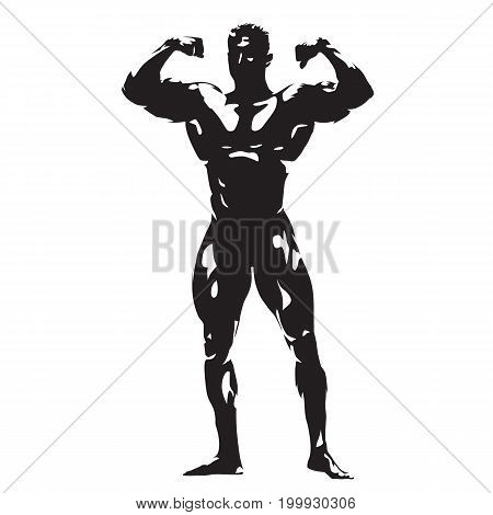 Posing bodybuilder abstract vector silhouette, big muscles
