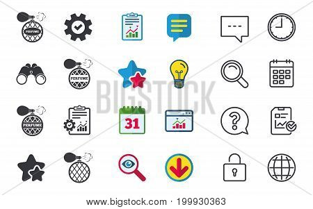 Perfume bottle icons. Glamour fragrance sign symbols. Chat, Report and Calendar signs. Stars, Statistics and Download icons. Question, Clock and Globe. Vector
