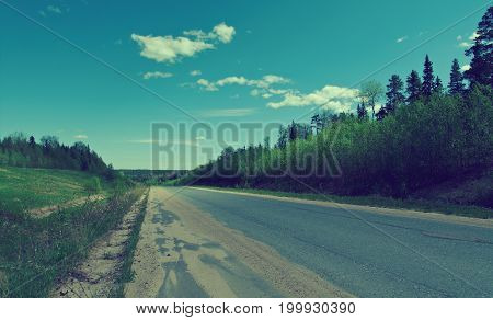 Russian Rural Landscape With Roa