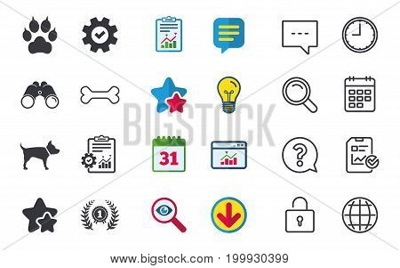 Pets icons. Cat paw with clutches sign. Winner laurel wreath and medal symbol. Pets food. Chat, Report and Calendar signs. Stars, Statistics and Download icons. Question, Clock and Globe. Vector