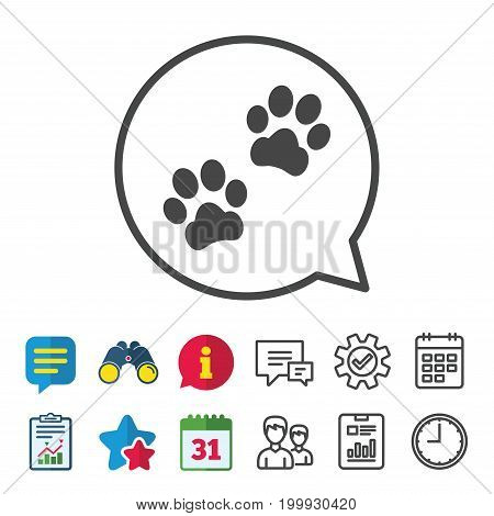 Paw sign icon. Dog pets steps symbol. Information, Report and Calendar signs. Group, Service and Chat line icons. Vector