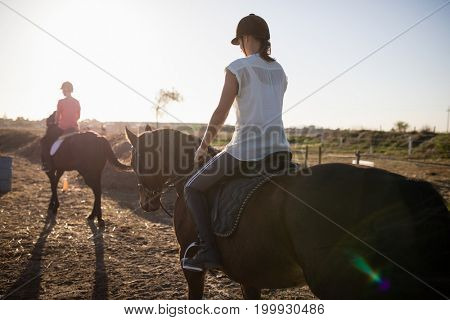 Female jockeys riding horse at barn