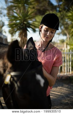 Female jockey looking down while standing by horse at barn