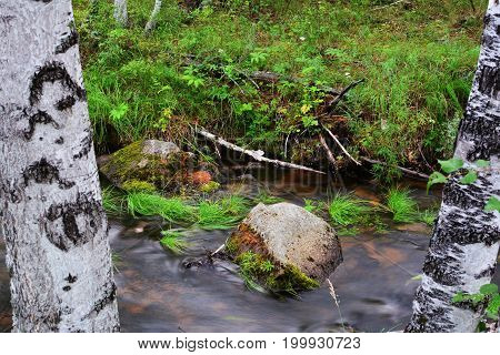 Long exposure photo with blurry water. Water flows among the stones.