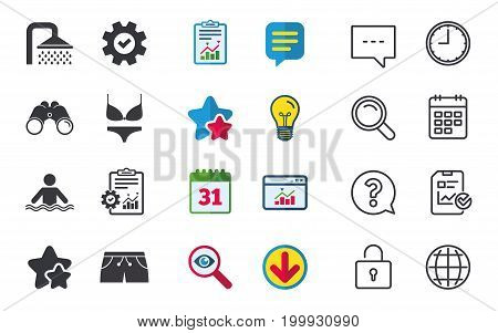 Swimming pool icons. Shower water drops and swimwear symbols. Human stands in sea waves sign. Trunks and women underwear. Chat, Report and Calendar signs. Stars, Statistics and Download icons. Vector