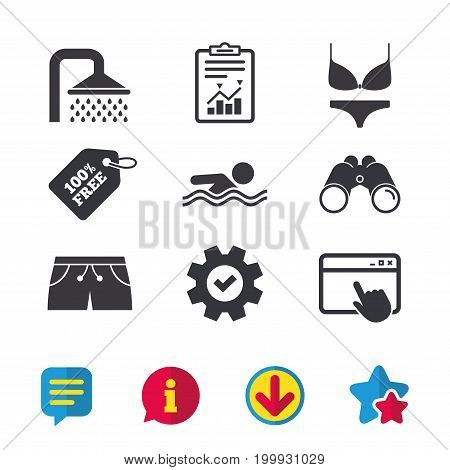 Swimming pool icons. Shower water drops and swimwear symbols. Human swims in sea waves sign. Trunks and women underwear. Browser window, Report and Service signs. Vector