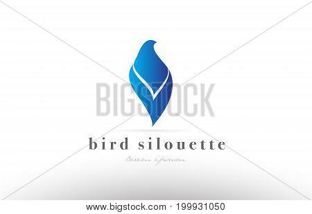 Blue bird silhouette logo icon design shape vector creative company template spa beauty product dove