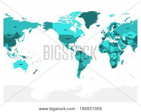 World map in four shades of turquoise blue on white background. High detail America centered political map. Vector illustration with labeled compound path of each country.