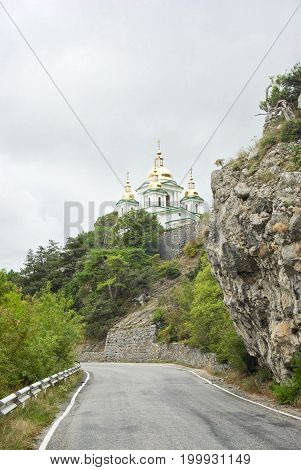 A way to the temple in Crimean mountains.