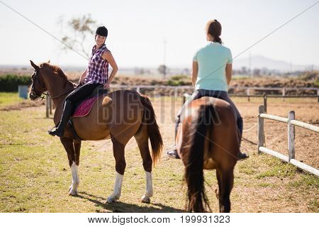 Female friends horseback riding on field during sunny day