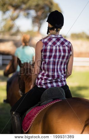 Rear view of woman horseback riding with friend sitting on horse in background at paddock