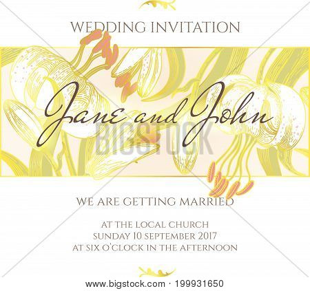 Wedding invitation vector design template. Floral background