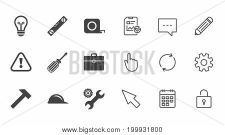 Repair, construction icons. Engineering, helmet and screwdriver signs. Lamp, electricity and attention symbols. Chat, Report and Calendar line signs. Service, Pencil and Locker icons. Vector