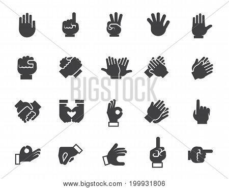 Black flat icons of human gesticulating hand. Set of 20 different graphic signs for site interfaces, mobile appls, games and other projects. Vector web image or button isolated on white background