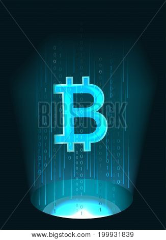 Bitcoin symbol and binary code.The concept of digital currency.