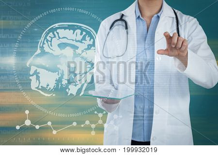Female doctor holding digital tablet while using imaginative screen against abstract backgrounds