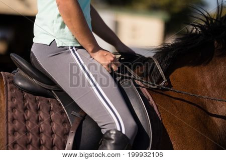 Mid section of female jockey sitting on horse during sunny day