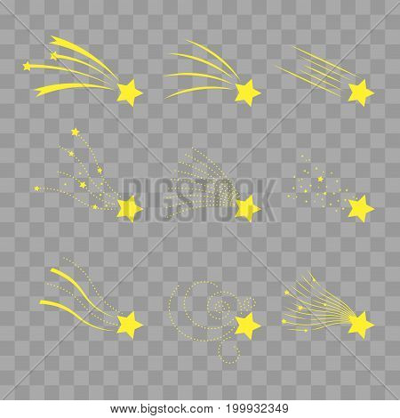Falling stars vector set. Shooting stars isolated on transparent checkered. Icons of meteorites and comets. Falling stars with different tails