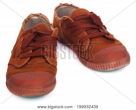 old sneakers brown on white background sneakers, old, dirty, canvas,
