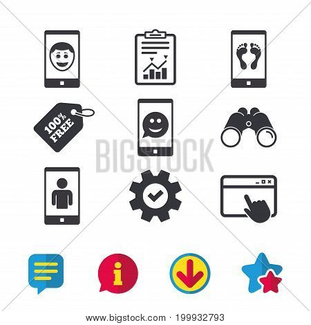 Selfie smile face icon. Smartphone video call symbol. Self feet or legs photo. Browser window, Report and Service signs. Binoculars, Information and Download icons. Stars and Chat. Vector