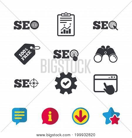 SEO icons. Search Engine Optimization symbols. World globe and mouse or hand cursor pointer signs. Browser window, Report and Service signs. Binoculars, Information and Download icons. Stars and Chat