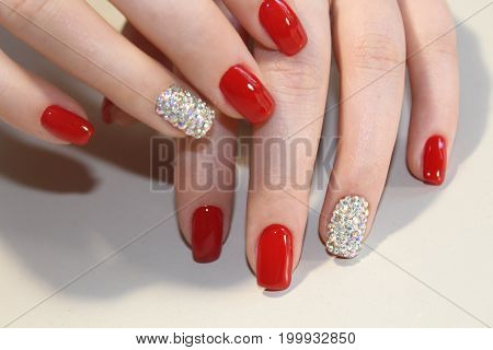 Amazing Colorful Manicure Design with Stones 2017