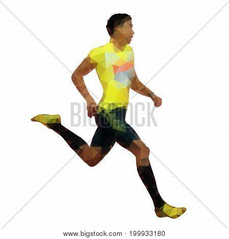 Run, abstract geometric runner vector silhouette, polygonal athlete
