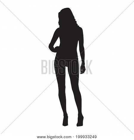 Sexy slim woman standing with hand on her hip vector silhouette