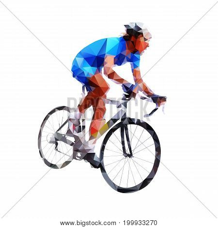 Low poly cyclist in blue jersey. Road cycling