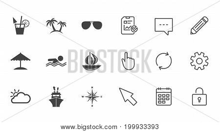 Cruise trip, ship and yacht icons. Travel, cocktails and palm trees signs. Sunglasses, windrose and swimming symbols. Chat, Report and Calendar line signs. Service, Pencil and Locker icons. Vector