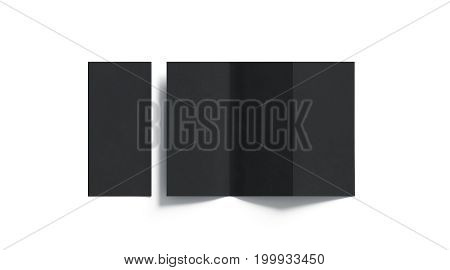 Blank black tri folded booklet mockup opened and closed top view 3d rendering. Plain trifold brochures mock ups set isolated. Book cover and three flier inside copy space.