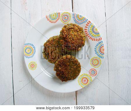 Ambode- Benga Lentil Vegetable Fritters,   close up  prepared meal