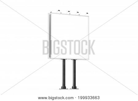 Blank white banner mockup on city square billboard side view 3d rendering. Empty bill board mock up isolated. Clear canvas template on sity street sign. Outdoor poster screen. Big cityboard signage