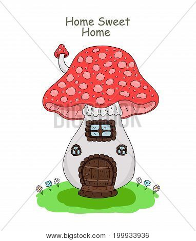Cute hand drawn Vector illustration of a house mushroom vector print.