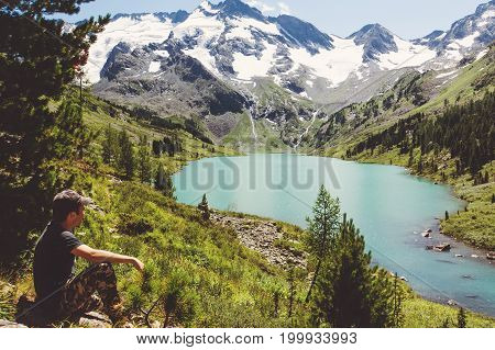 Traveler Man Relaxing With Serene View Mountains