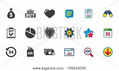 Online shopping, e-commerce and business icons. Checklist, like and pie chart signs. Money bag, discount and protection symbols. Calendar, Report and Download signs. Stars, Service and Search icons
