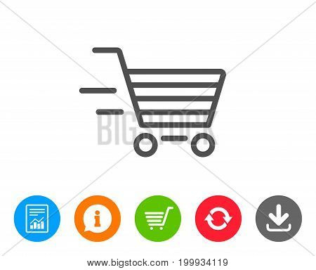 Delivery Service line icon. Shopping cart sign. Express Online buying. Supermarket basket symbol. Report, Information and Refresh line signs. Shopping cart and Download icons. Editable stroke. Vector