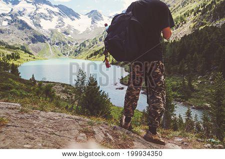 Traveler Man Enjoying Lake And Mountains View