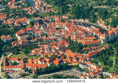 Cesky Krumlov old town aerial view from plane Czech Republic