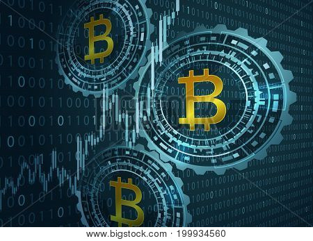 Bitcoin symbol and digital background. Vector illustration.