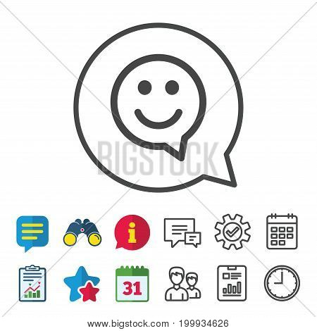 Happy face chat speech bubble symbol. Smile icon. Information, Report and Calendar signs. Group, Service and Chat line icons. Vector